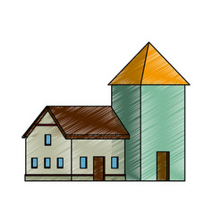 house with windows cellar traditional icon vector image