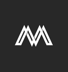 letter m logo modern monogram paper ribbon vector image vector image