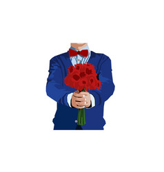 man with flower vector image vector image