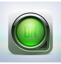 metallic glossy power button vector image