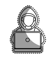 monochrome contour sticker with hacker faceless vector image vector image