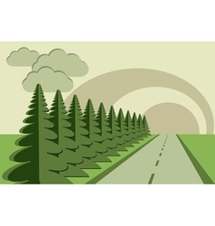 road fir trees sky papercraft vector image