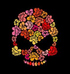 Rose skull on black background skeleton head of vector