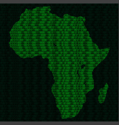 silhouette of africa from binary digits vector image vector image