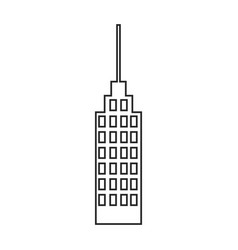 Silhouette of building skyscraper with antenna vector