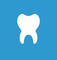 tooth icon white on the blue background vector image vector image