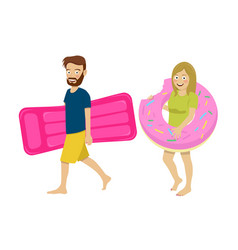 Young couple walking with inflatable mattress vector