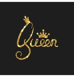 Queen golden text for card modern brush vector
