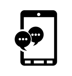 Modern cellphone and conversation bubble icon vector
