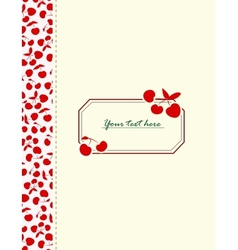 Card with cherries for your design vector