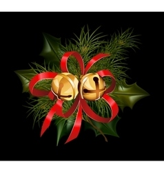 Christmas decorations with fir tree and decorative vector image