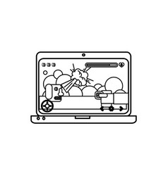 computer laptop with video game vector image