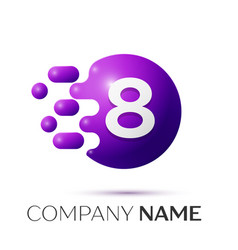 number eight splash logo purple dots and bubbles vector image