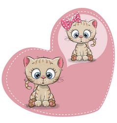 cute cartoon dreaming kitten vector image