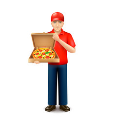 Pizza delivery man isolated on white vector