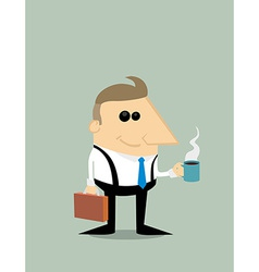 Happy cartoon businessman with coffee vector
