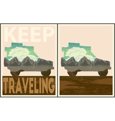 Keep traveling poster collection vector