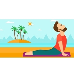 Man practicing yoga vector