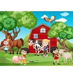 Children and farm animals vector image