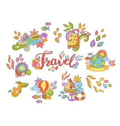 Doodle hand drawn sticker with travel and summer vector