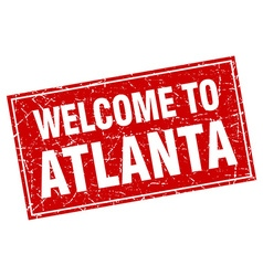 Atlanta red square grunge welcome to stamp vector