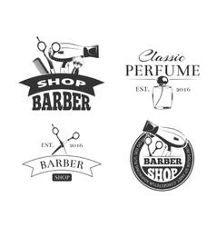 Retro barber shop label set vector image