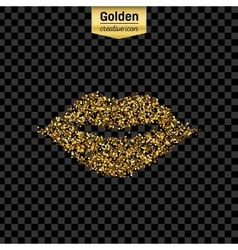 Gold glitter icon of mouth isolated on vector