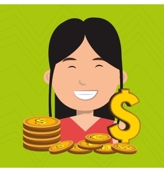 Woman with coins isolated icon design vector