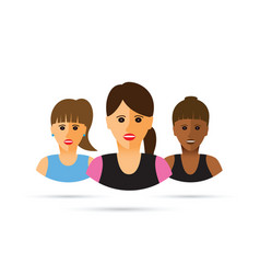A group of three women cartoon vector