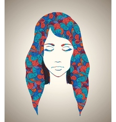 Abstract girl portrait with floral ornament vector image vector image
