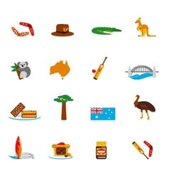 Australia icons set flat vector image vector image