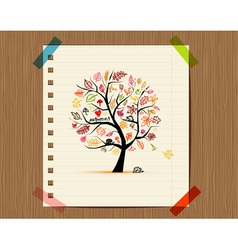 Autumn tree sketch drawing for your design vector image