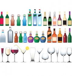 bottle glasses vector image vector image