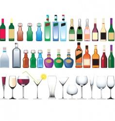 Bottle glasses vector