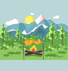 Camping on nature fry chicken vector