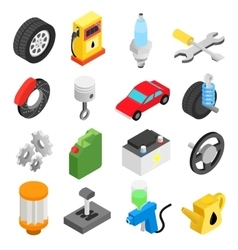 Car service maintenance isometric icons vector image