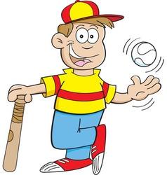 Cartoon boy with a baseball and bat vector image vector image