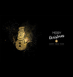 christmas and new year gold glitter snowman card vector image vector image