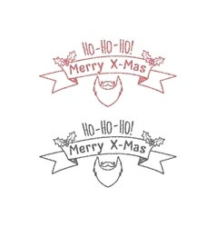 Dot work styled hipster christmas label badge vector