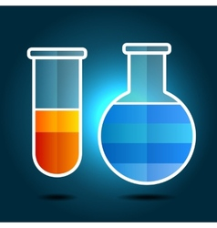 Education Chemistry Themed Infographic with Flasks vector image vector image