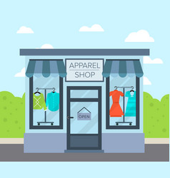 Facade apparel shop building in flat design vector