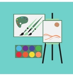 flat icon on stylish background drawing lesson vector image