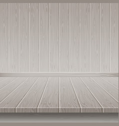 Grey wooden wall and floor vector