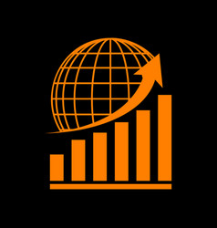 Growing graph with earth orange icon on black vector