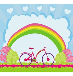 I love my bike abstract card vector image