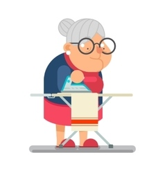 Iron clothes household granny old lady character vector