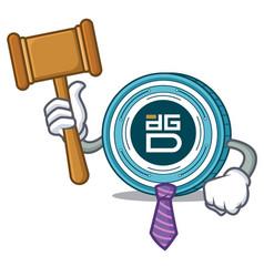 Judge digixdao coin mascot cartoon vector