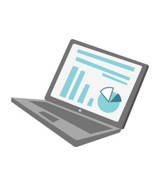 laptop with chart and diagram cartoon vector image vector image
