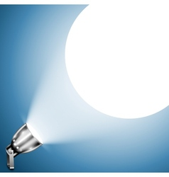 Metallic Spotlight Projecting On Blue Wall vector image vector image