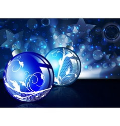 new year blue decorated balls vector image vector image